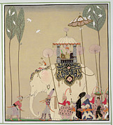 Fan Metal Prints - Imperial Procession Metal Print by Georges Barbier