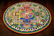 Tibetan Buddhism Framed Prints - Impermanence - Sand Mandala Framed Print by Steven Cragg