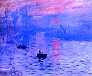 Haze Mixed Media Metal Prints - Impression Sunrise Enhanced Metal Print by Claude Monet - L Brown