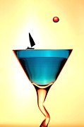 Liquor Digital Art - Impression Sunrise Sailing on the cups little people on food by Paul Ge