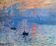 Wooden Ship Mixed Media Prints - Impression Sunrise Soleil Levant Print by Claude Monet - L Brown