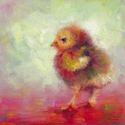 Hen Paintings - Impressionist Chick by Talya Johnson