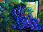 Bunch Of Grapes Posters - Impressionist Grapes and Wine Poster by Eloise Schneider