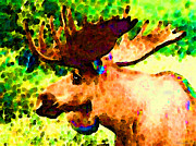 Impressionist Moose - Pop Art By Sharon Cummings Print by Sharon Cummings