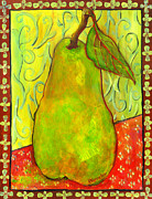 Pear Art Painting Framed Prints - Impressionist Style Pear Framed Print by Blenda Tyvoll