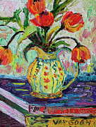 Malerei Art - Impressionist Tulips in French Pottery by Ginette Callaway