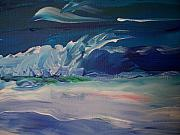 Winter Prints Drawings Prints - Impressionistic Abstract Wave Print by Eric  Schiabor