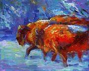 Impressionistic Buffalo Painting Print by Svetlana Novikova