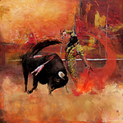 Animals Prints Posters - Impressionistic Bullfighting Poster by Corporate Art Task Force