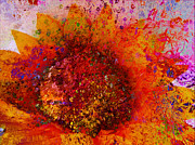 Impressionist Mixed Media Acrylic Prints - Impressionistic Colorful Flower  Acrylic Print by Ann Powell