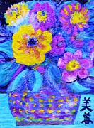 Chinese Characters Paintings - Impressionistic Floral with Blues and Chinese Characters by Anne-Elizabeth Whiteway