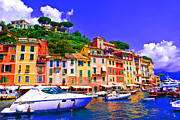 Portofino Italy Posters - Impressionistic photo paint GS 012 Poster by Catf