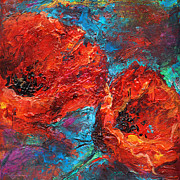 Turquiose  Metal Prints - Impressionistic Red Poppies Metal Print by Svetlana Novikova