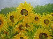 Field Of Sunflowers Paintings - Impressionistic Sunflowers by Brenda Mullaney