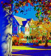 Surfing Maine Framed Prints - Impressionistic Victorian House In Cape May Framed Print by Annie Zeno