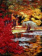 Lakeshore Paintings - Impressions in Red and Gold by  David Lloyd Glover