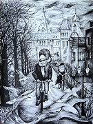 City Scene Drawings - Impressions of Amsterdam by Anna  Duyunova