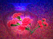 Joyce Dickens Digital Art Prints - Impressions of Pink Carnations Print by Joyce Dickens