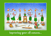 Christmas Cards Paintings - improving your elf esteem...by Will Bullas by Will Bullas