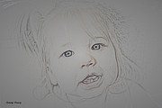 Pencil Drawings Posters - In a  Child s Eyes Poster by Cheryl Young