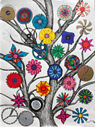 Pen And Ink Drawing Prints - In a circle tree Print by Fred Miller