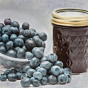 Canned Fruit Posters - In A Jam-Blueberry Poster by Bill  Wakeley