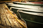Boats In Water Prints - In a line Print by Todd Bielby
