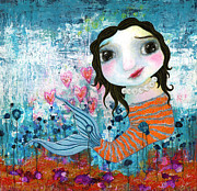 Shirley Mixed Media - In a Mermaids Garden by Shirley Dawson