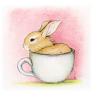 Rabbit Prints - In A Tea Cup Print by Penny Collins