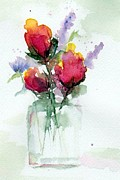 Roses Poppies Paintings - In a Vase by Anne Duke