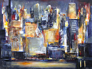 Skyline Painting Posters - In Chicago Tonight Poster by Kathleen Patrick
