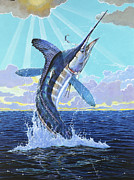 Striped Marlin Prints - In Contention Off0049 Print by Carey Chen