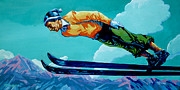 Ski Painting Originals - In Flight by Derrick Higgins