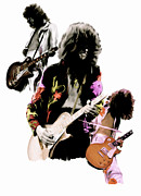 David Drawings Metal Prints - In Flight  Jimmy Page  Metal Print by Iconic Images Art Gallery David Pucciarelli