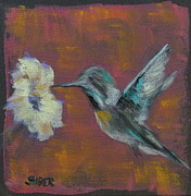 Hummingbird Paintings - In Flight by Kathy Stiber