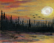 Canadian Geese Paintings - In for the Night by R Kyllo