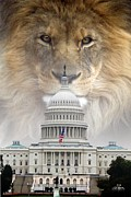 Lions Digital Art Posters - In God We Trust Poster by Bill Stephens