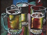 Beer Oil Paintings - In Good Company by Leinora Alimboyoguen