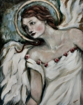 Angel Painting Metal Prints - In Love Metal Print by Carrie Joy Art