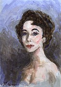 1950s Portraits Painting Prints - In Memory of Elizabeth Taylor Print by Linda Mears