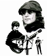 The Beatles Drawings Framed Prints - In My Life  John Lennon Framed Print by Iconic Images Art Gallery David Pucciarelli