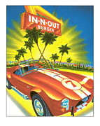 Burger Digital Art Prints - In N Out Burger Corvette Poster Print by Claudette Armstrong