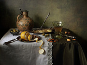 Still Life With Pitcher Art - In Olive Tones  by Helen Tatulyan