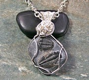 Grey Black Jewelry - In Passing Double-Trilobite Fossil Pendant by Heather Jordan