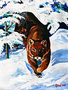 Mountain Lion Prints - In Pursuit Print by Karon Melillo DeVega