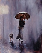 Umbrella Painting Originals - In Rain or Shine by Laura Lee Zanghetti