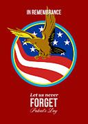 In Remembrance Patriots Day Retro Poster Print by Aloysius Patrimonio