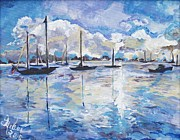 Sailboats Drawings - In Search For Americas Freedom by Helena Bebirian