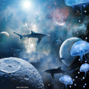 Shark Digital Art Prints - In space . . . Print by Peter Krause