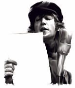 John Lennon  Drawings Prints - In Studio John Lennon Print by Iconic Images Art Gallery David Pucciarelli